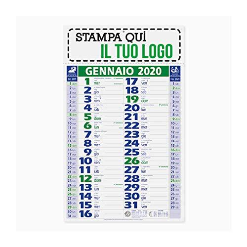 Calendario 2020 - Olandese VERDE-BLU da muro con testata personalizzabile (Cm 29x11 circa) - E' possibile stampare la vostra grafica, il vostro logo o una foto. Stampa a colori. Graficamente (1)