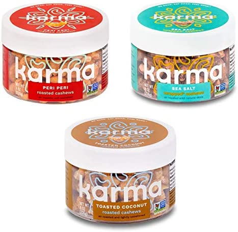 Karma Nuts Cashews Variety Pack Whole Roasted Vegan Non Gmo Gluten Free Low Carb Low Calorie product image