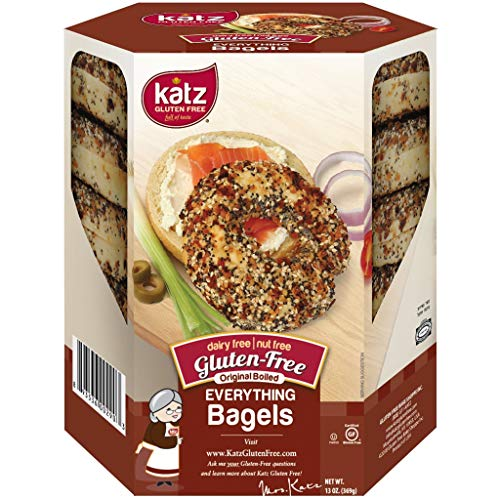 Katz Gluten Free Everything Bagels   Dairy, Nut and Gluten Free   Kosher (1 Pack of 4 Bagels, 13 Ounce)