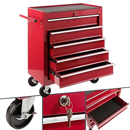 Arebos Werkstattwagen 5 Fächer | zentral abschließbar | inkl. Antirutschmatten | kugelgelagerte...