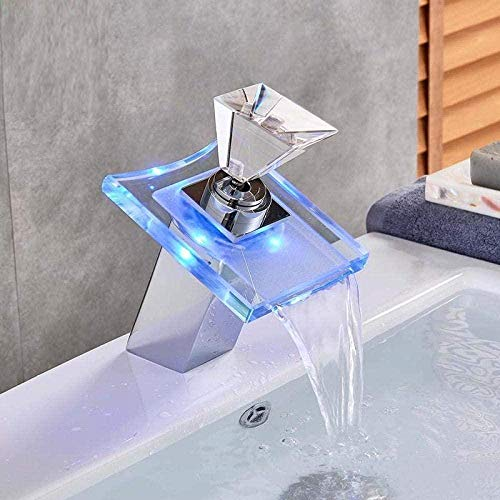 Grifo de lavabo de baño inductivo Grifos de cocina Grifos de fregadero de lujo Grifo de cascada de vidrio LED que cambia de color Baño con pilas Grifo mezclador Cromado Montado en cubierta Grifo calie