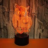 Owl 3D Night Lights 7 Color Changing USB LED Table Lamp Touch Control Home r2d2 3D Arts Lamp for Great Kids Gifts Home Decoration
