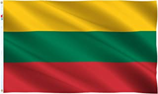 Lithuania Flag Large 3x5 Ft, Moderate-Outdoor Both Sides 100D Polyester,Canvas Header and Double Stitched - Brass Grommets for Easy Display, 3` x 5` Lithuanian National Flags