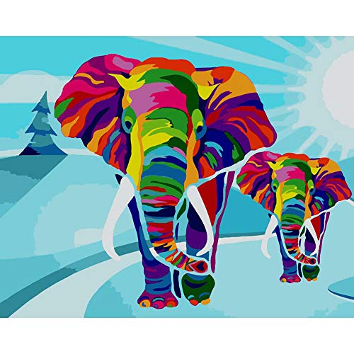 Arfbear DIY Olieverfschilderij, Schilderen op Nummer Kits Voor Volwassenen, Kleur Olifant 16 x 20 inch Frameloos