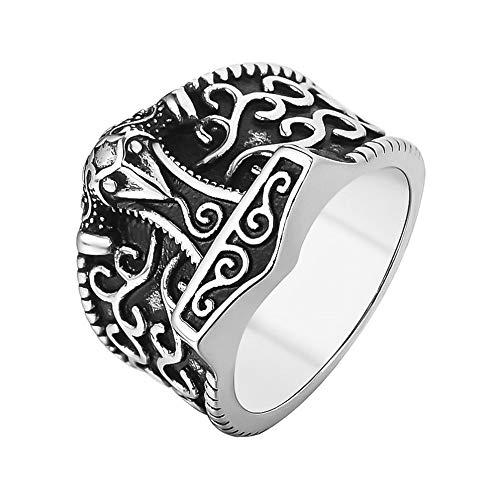 Sping Jewelry Kratos Hammer aus nordischem Ring Titanstahl Gott der Krähe Totem Belief Biker Band Unisex Größe 7-13 Ringe