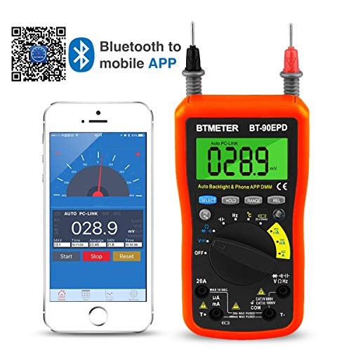 BTMETER Digital Multimeter, Multimeter Bluetooth,BT-90EPD Advanced Multimeter mit 4000 Counts, Diodentest, Automatische Bereichsauswahl,Temperaturmessung, Hintergrundbeleuchtung,Batterietest(Orange)