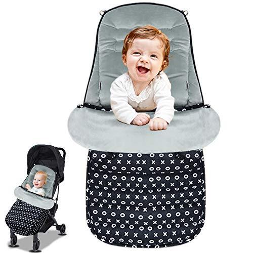 Saco de Dormir Para Bebé Funda, 3 en 1 Universal de invierno de cálido saco de Dormir del bebé Cochecito Cubierta de pie Impermeable a Prueba de Viento a Prueba de Frío Desmontable (Negro)