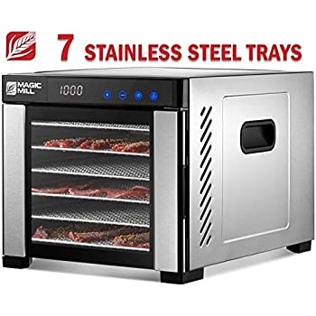 Magic Mill Food Dehydrator Machine, Easy Setup, Digital Adjustable Timer and Temperature Control, Dryer for Jerky, Herb, Meat, Beef, Fruit and To Dry Vegetables, 7 Stainless Steel Trays