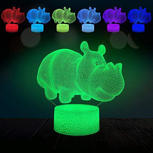 JJIEZZ Luz de Noche 3D Animal Hippo Rhinoceros Lámpara 3D USB Mood Night Light Multicolor Touch-Toque de Efecto de Lava