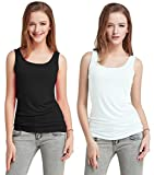 Fashion Line Cotton Lycra Tank Top for Girls/Women (Black & White, Pack of 2)