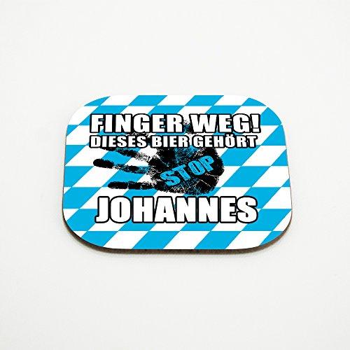 Untersetzer für Gläser mit Namen Johannes und schönem Motiv - Finger weg! Dieses Bier gehört Johannes