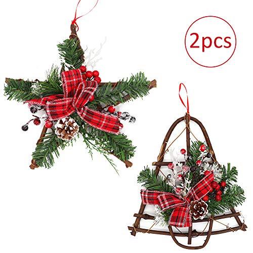 2 Pezzi Ghirlanda di Natalizia Vimini con Neve, Naturale Pigna con Bacche Rosse Nastro Addobbi Corona di Natale per la Decorazioni della Vacanze Festa in casa
