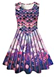 10-13 Years Old Girl's Colorful Mermaid Shirt Dress for Teens Summer Kawaii Green Blue Fish Scale Sleeveless Sundresses Youth Vintage Crew Neck Plain Dance Frocks, Size 10-12