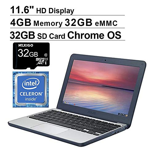 2020 Newest ASUS Chromebook 11.6 Inch Laptop for Business Student| Intel Celeron N3060 up to 2.48GHz| 4GB LPDDR3 RAM| 32GB eMMC| WiFi| Bluetooth| HDMI| Chrome OS + NexiGo 32GB MicroSD Bundle
