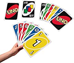 More UNO to love! The same family card game you already know but with cards 3 times larger! Great size for the beach or pool, especially when 8 to 10 people want to play! Just like in classic UNO, match cards by color or number in a race to deplete y...