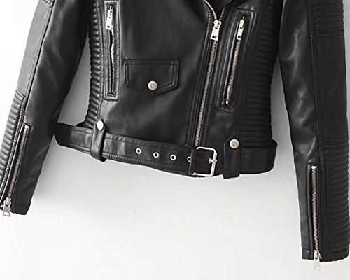 Mujer De Manga Larga Chaqueta De Cuero De La PU con Cremallera Chaqueta Moto Outcoats Black L