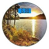 Escala digital de peso corporal de precisión Ronda Paisaje Báscula de baño de vidrio templado ultra delgado Mediciones de peso precisas,Sunset Dawn en el bosque sobre el lago de los dos ríos Algonquin