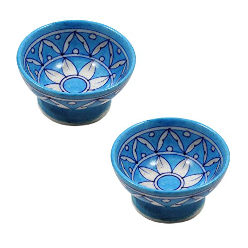 India Meets India Thanksgiving Handicraft Ceramic Dessert Serving Bowls Set of 6 Side Dishes Ice Cream, 50 ML, Best Gifting, Made by Awarded Indian Artisan