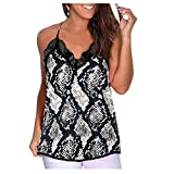 Pocciol Womens Vest Fashion Lace Serpentine Print Camisole Cotton Sleeveless T-Shirt