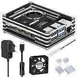 GeeekPi Caja para Raspberry Pi 4, Raspberry Pi 4 Caja con Ventilador, Cargador de 5V 3A USB-C y 4X Disipador para Raspberry Pi 4 Modelo B (No Incluye Placa Raspberry Pi) (Negro y Claro)