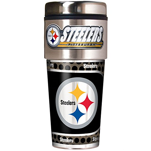 NFL Pittsburgh Steelers Metallic Travel Tumbler, Stainless Steel and Black Vinyl, 16-Ounce