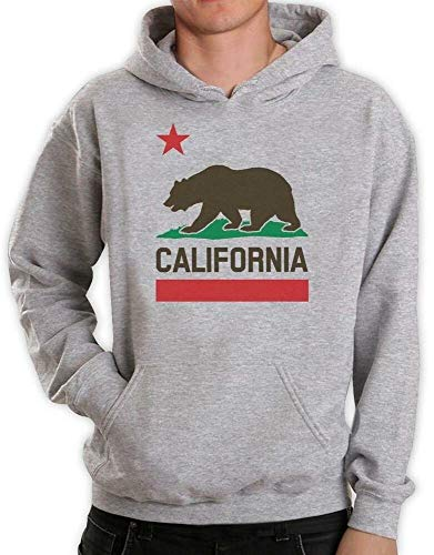 NIUNAI California Republic Bear State Flag Top Plush 3D Print Hoodie West Coast Grey M