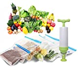 OFKPO Kit de Sac sous Vide Alimentaire avec Pompe Manuelle, Sacs de Rangement Alimentaire Scéllés, sous Vide Réutilisables pour Aliments