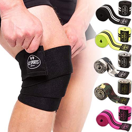 C.P. Sports Kniebandage 150 cm – für Training mit hohen Gewichten und Kniebeugen – elastisch und robust – für Fitness, Kraftsport, Gewichtheben, Bankdrücken, Crossfit – camo-weiß