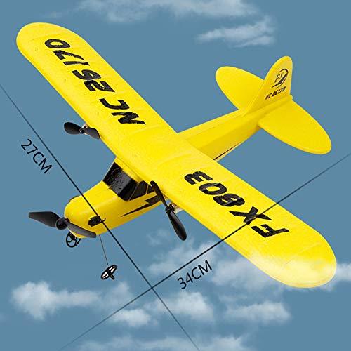 New Super Sonic RC Aereo telecomandato per Bambini - 2 canali RC Aeroplane ReadyTo Fly - Airplane Leggero Adatto per Esterni - Glider radiocontrollato, Yellow, Taglia Libera