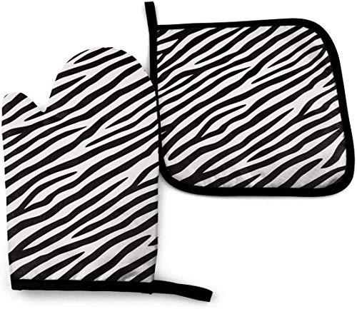 N\A Zebra Blanco y Negro Colores 2PCS Juegos de Manoplas de Horno y Porta ollas Resistentes al Calor