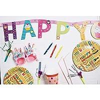 Assanu 8×6.5フィートビニールハッピーバースデー写真の背景カラフルな文字プレートわらピンクメガネパーティーアクセサリー背景子供子供赤ちゃん誕生日パーティーバナー幼稚な壁紙スタジオ