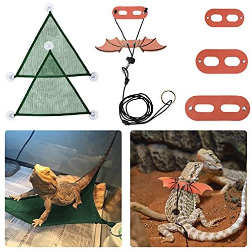 zootop Hamaca de reptiles con correa y arnés de dragón barbudo, ajustable, de cuero suave, para disfraz de lagarto, triangular, de malla transpirable, para colgar mascotas pequeñas (alas naranjas)