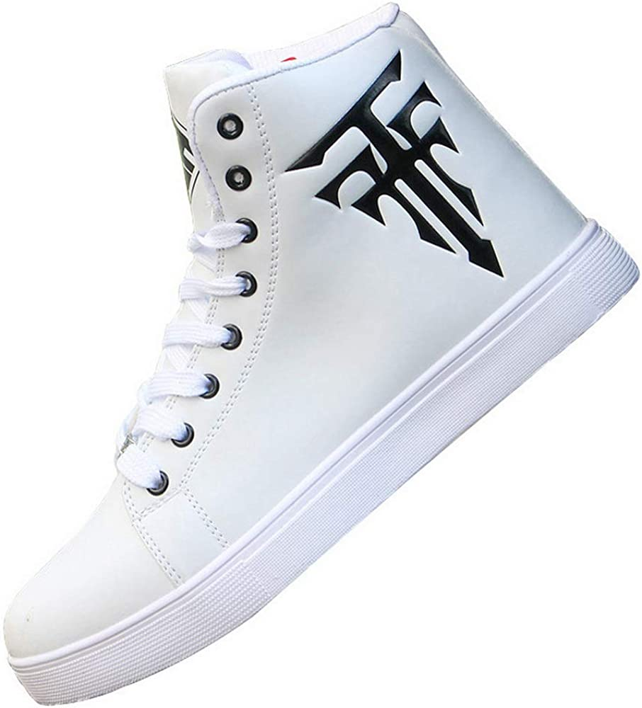 tazimall Mens Round Toe High Top Up Sneakers Factory outlet Skatebo Lace Casual Very popular