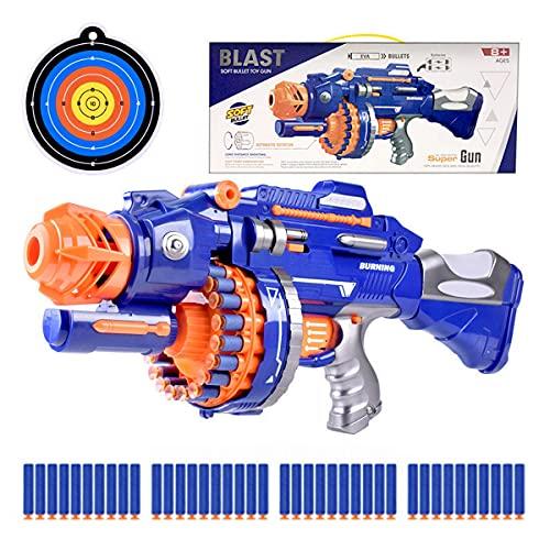 XIAOKEKE Pistola Soft Bullet Elettrica, Pistola Giocattolo Ragazzo, Pistola Giocattolo A Proiettile Morbido per L'interazione Genitore-Figlio All'aperto, 40 Freccette Riempite di Schiuma Morbida