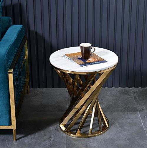 XLEVE Creativa de mármol del Marco Sofá Mesa Lateral Sala de Estar Mesa de Acero Inoxidable Centro Tabla Inicio de Muebles Mesas Laterales Simple (Color : Pattern A)