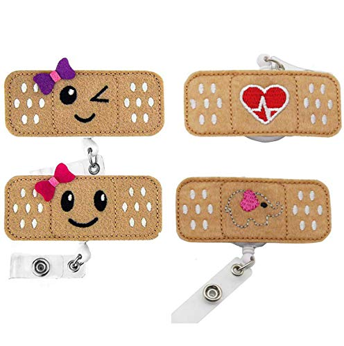 4pcs Badge Reel Bandaid Retractable,Name Badge Reel Holder,Nursing Badge Holder,Nursing Badge ID Clip,Felt Badge Reels for Nurses & Doctors