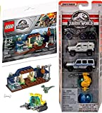 LEGO Dino Park Jurassic World Baby Velociraptor Brick Set Bundled with + Classic Legacy Collection Matchbox 5-Pack Island Explorers Off-Road Vehicles