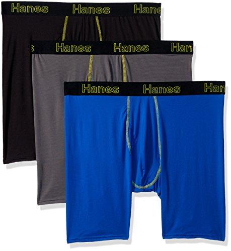 Hanes Men's 3-Pack Comfort Flex Fit Lightweight Mesh Longleg Boxer Brief, Assorted, X-Large