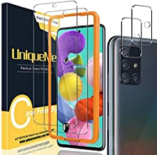 [2+2 Pack] UniqueMe Camera Lens Protector and Screen Protector for Samsung Galaxy A51 4G / 5G / 5G UW Tempered Glass [Easy Installation Frame] HD Clear [Anti-Scratch] [Bubble Free]