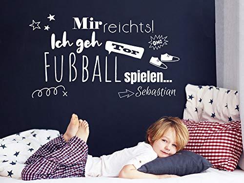 GRAZDesign Wandtattoo Fussball mit Name Kinderzimmer, Geschenk für Junge, lustiges Spruch, personalisierte Fußball Geschenke für Kinder / 72x40cm / Rot