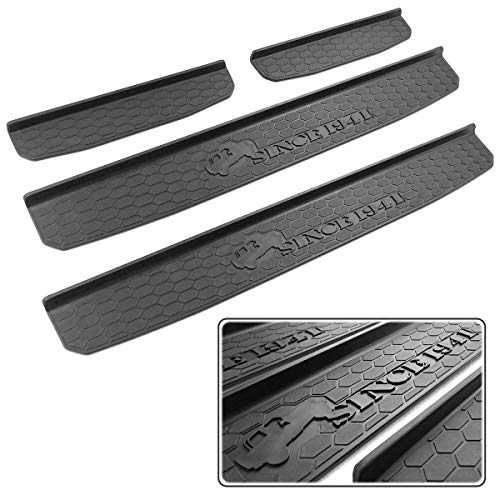 XBEEK Door Sill Guards for Jeep 2018-2021 Wrangler JL and 2020-2021 Gladiator JT Accessories Entry Plate Cover with Since 1941 Logo Black
