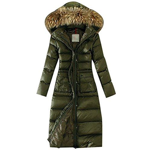 LvRao Donna Piumini Lunghi Leggeri Cappotti Invernali con Cappuccio Piumino Invernale Pelliccia Ecologica (#2 Verde, Asia S)