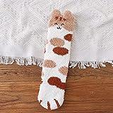 Calcetines con orejas de gato, calcetines cálidos de dibujos animados para mujer, calcetines gruesos de invierno, calcetines bonitos para piso de niña y mujer, calcetines de animales,tamaño 36-43