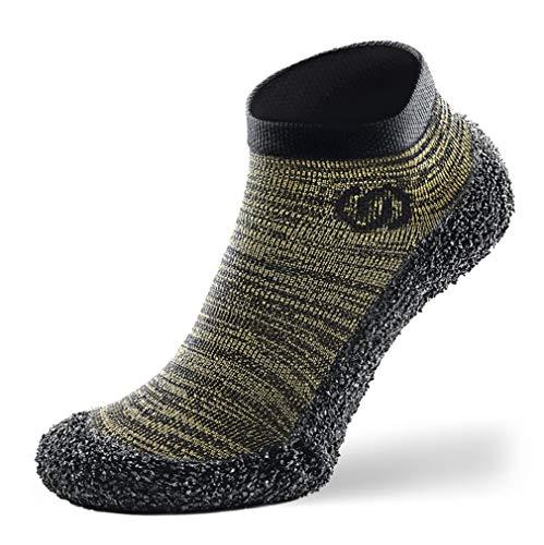 Calcetines Minimalistas SKINNERS para Andar Descalzo para Hombres y Mujeres | Calzado Ultra portátil Ligero y Transpirable | Verde Oliva (Logo Negro), M - 40-42 EU