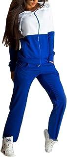 Donna Tuta da Ginnastica 2 Pezzi Manica Lunga Felpa con Cappuccio Jogging Sportivo Tuta Casuale Fitness Sweatwear con Cern...