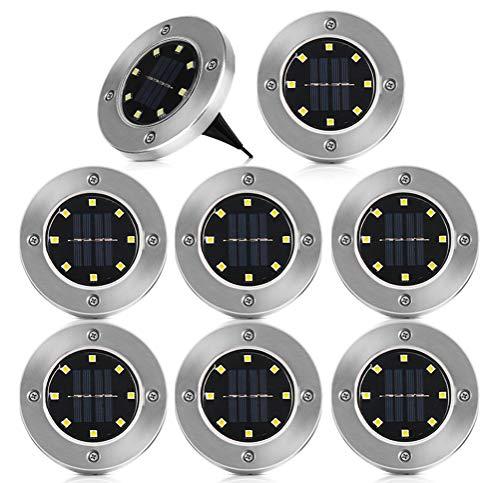 Luci Solari Giardino, 8 Pack 8 LED Lampade a Terra, Luci Solari da Esterno, Luce Sepolta Solare IP65 Impermeabile, LED Luce Solari Giardino Esterno per Prato, Scala, Paesaggio, Strade (Bianco freddo)