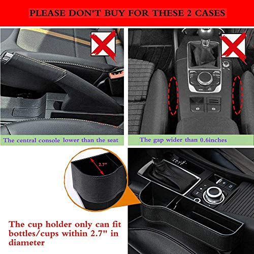 GCARTOUR Car Seat Pockets Car Console Side Organizer Seat Gap Filler Catch Caddy (Pure Black Driver Side, Left Seat)