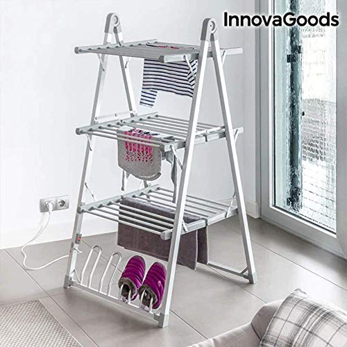 InnovaGoods Tendedero Eléctrico Plegable, Aluminio y ABS, Gris, 66x73x135 cm