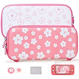 Tscope Cute Carrying Case for Nintendo Switch Lite, Pink Sakura Portable Hard Shell Grils Travel Storage Bag, Accessories kit with Glass Screen Protector & Thumb Grip Caps
