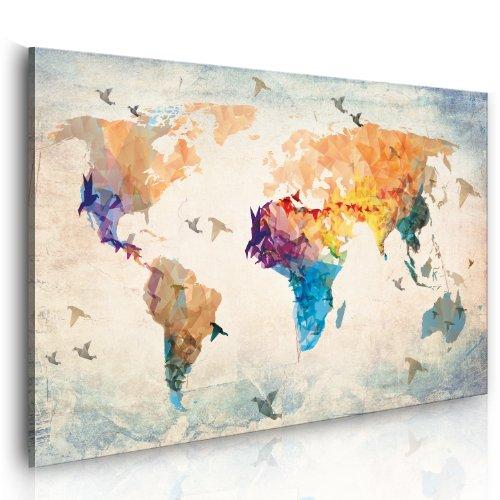 murando Cuadro en Lienzo 90x60 1 Parte Impresión en Material Tejido no Tejido Impresión Artística Imagen Gráfica Decoracion de Pared Mapa del Mundi 020113-230
